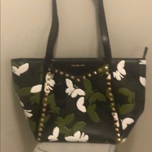 MK tote w/ embellished butterflies & gold studs